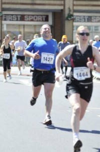 Ian and Wendy running Coventry half marathon